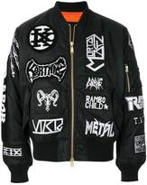 Kokon To Zai all-over patch bomber jacket