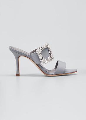 Manolo Blahnik Gable Crystal Buckle Slide Sandals