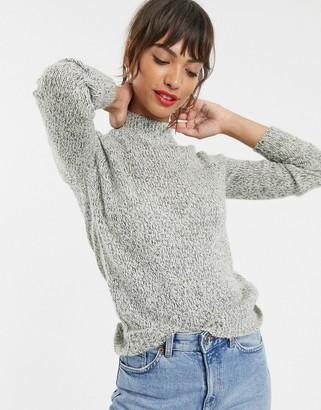 Vero Moda High Neck Knitted Jumper-Grey