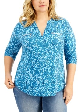 INC International Concepts Inc Plus Size Printed Zip-Pocket Top, Created for Macy's