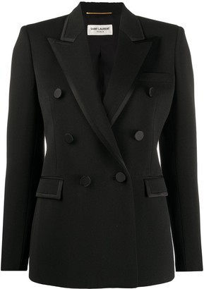 Saint Laurent Double-Breasted Satin-Trim Blazer