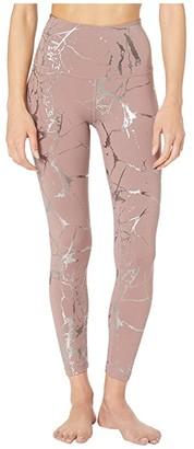 Beyond Yoga Lost Your Marbles High-Waist Midi Leggings (Dusty Mauve/Shiny Gunmetal Marble) Women's Casual Pants