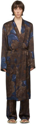 Dries Van Noten Navy and Brown Satin Floral Robe