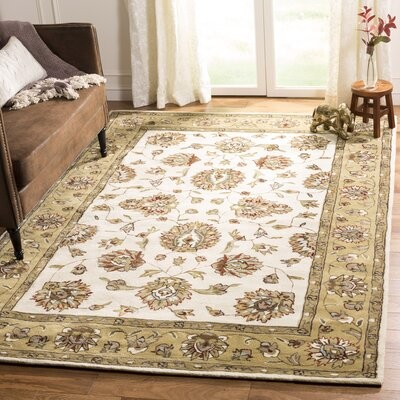 Charlton Home Cloverdale Hand Hooked Cotton Ivory Beige Area Rug Rug Size Rectangle 2 X 3 Shopstyle