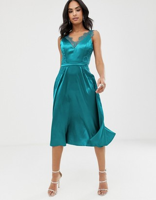 Little Mistress satin tonal eyelash lace neckline midi dress-Green