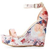 Charlotte Russe Bamboo Floral Two-Piece Wedge Sandals