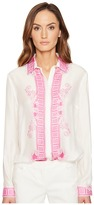 Versace Button Up Long Sleeve Printed Trim Blouse Women's Blouse