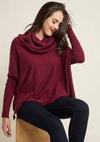 ModCloth A Cozy Touch Sweater in Burgundy in M - Long Pullover Tunic