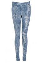 Select Fashion Fashion Womens Blue Lace Print Jegging - size 6