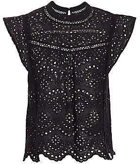 7 For All Mankind Women's Eyelet Sleeveless Top