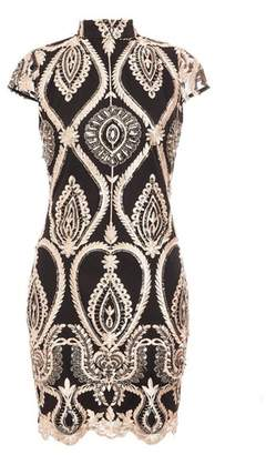 Dorothy Perkins Womens *Quiz Black Embellished High Neck Dress, Black