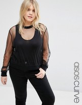 Asos Sheer Mesh Sweat Top With Rib Neck And Cuff