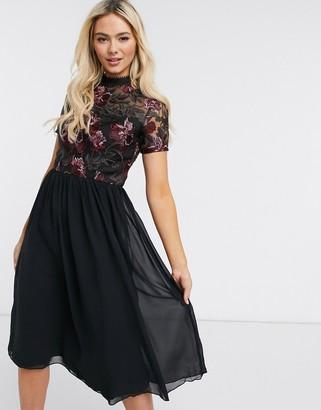 Chi Chi London lace high neck midi dress in black