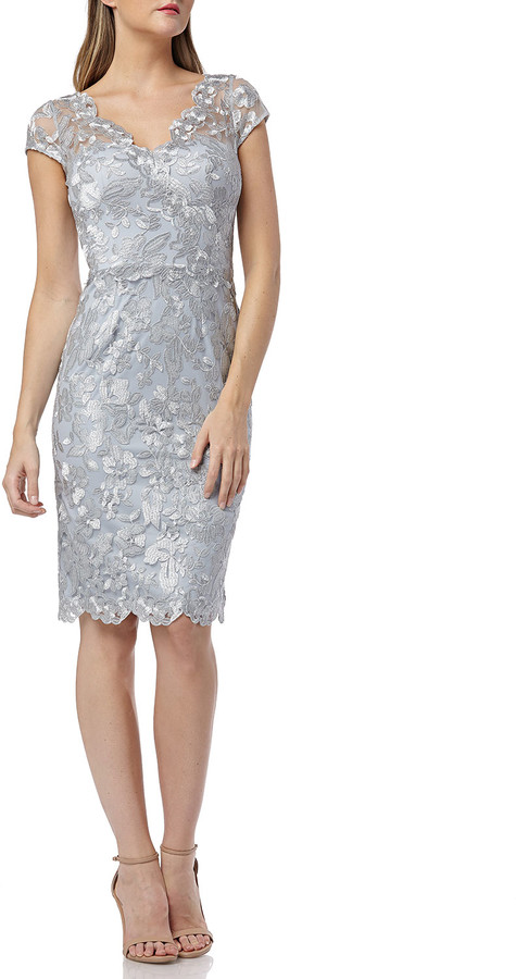 Carmen Marc Valvo Metallic Embroidered V-Neck Cap-Sleeve Cocktail Dress