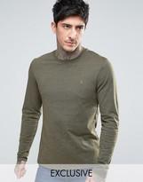 Farah Twisted Yarn Marl Long Sleeve T-shirt Exclusive in Green