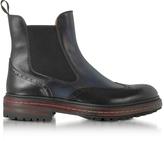 Santoni Midnight Blue Leather Wingtip Ankle Boots