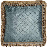 """Isabella Collection Grace Teal Diamond Pillow with Fringe & Onion Trim, 17""""Sq."""