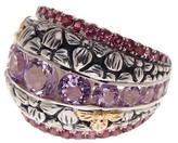Stephen Dweck Sterling Silver, 18K Yellow Gold, Amethyst, & Lavender Quartz Floral Detail Ring - Size 6