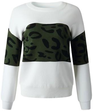 Goodnight Macaroon 'Elva' Leopard Print Colorblock Sweater (4 Colors)