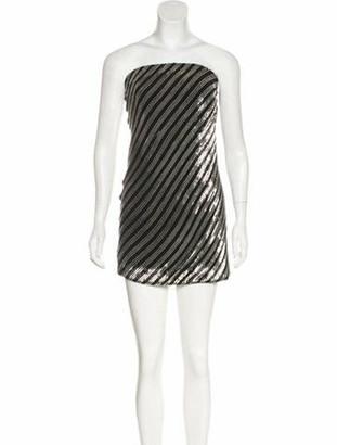 Saint Laurent Embellished Strapless Dress Black