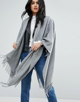 Pieces Cape Scarf In Light Grey