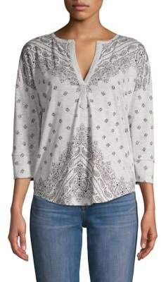Lucky Brand Printed Heathered Henley Top