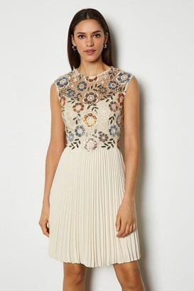 Karen Millen Sequin And Lace Detail Short Dress