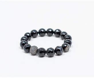 Katie Cottage Barn Black Agate Gemstone with Gunmetal Pave Focal Bead Bracelet