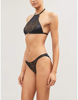 PLAYBOY BY COCO DE MER Gilded Heart halter neck lace and jersey bralette