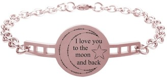 Fully Adjustable Inspirational Link Bracelet by Pink Box I love you to the moon and back Rose Gold