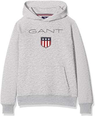 Gant Boys' Shield Logo Sweat Hoodie (Light Grey Melange), (Size: )