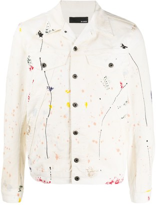 B Used Paint Splatter-Print Denim Jacket