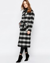 Helene Berman Button Down Belted Coat In Black Shadow Plaid