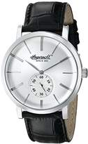Ingersoll Men's Quartz Watch with Silver Dial Analogue Display and Black Leather Strap INQ012WHSL
