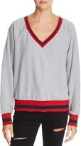 Honey Punch Varsity Metallic Striped Sweatshirt
