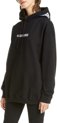 Vetements Logo Shipping Label Graphic Hoodie