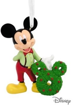 Hallmark Disney Mickey Mouse With Wreath Christmas Ornament