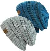 NYfashion101 Exclusive Unisex Two Tone Warm Cable Knit Thick Slouch Beanie Cap, 2 Pack