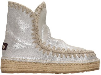 Mou Eskimo 18 Low Heels Ankle Boots In Grey Tech/synthetic