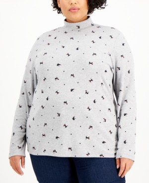 Karen Scott Plus Size Holiday Kitty Top, Created for Macy's