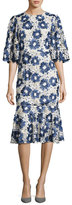 Co Embroidered Floral Lace Flared-Sleeve Flounce Dress, Blue