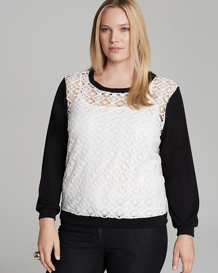 T-Bags Tbags Los Angeles Plus Crochet Sheer Sweatshirt