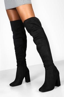 boohoo Block Heel Over The Knee Boots