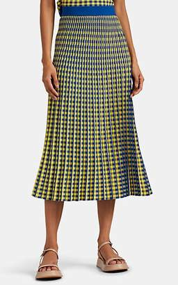 Derek Lam 10 Crosby Women's Graphic-Gingham Jacquard Midi-Skirt - Blue