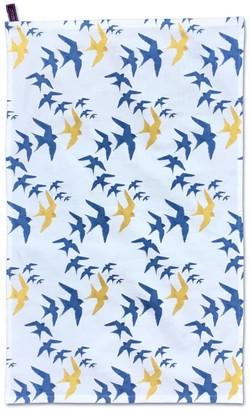 On Flock Cotton Tea Towel - Blue & Ochre Swallow Print White