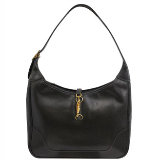 Hermes Black Leather Gold Hardware Shoulder Bag
