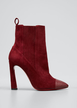 Christian Louboutin Me In The 90s Red Sole Booties, Maroon