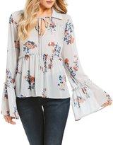 June & Hudson Floral Printed Bell Sleeve Chiffon Top