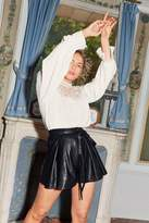 Womens We're Better Faux Leather Belted Shorts - black - S