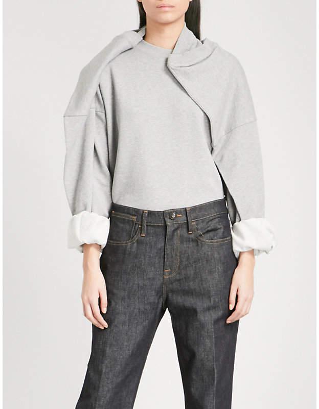 Y/Project Draped cotton-jersey sweatshirt